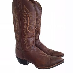 JUSTIN BOOTS Brown leather tall cowboy boots 7